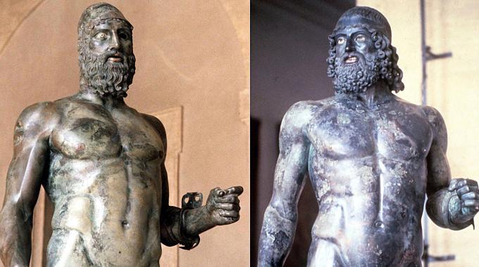 Le statue dei Bronzi di Riace (Ansa)